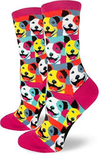 ModSocks Women's Pop Art Pitbull Crew Socks in Magenta (Fits Most Women Shoe Size 6-10) (Long Leg Staffordshire Bull Terrier For Sale)