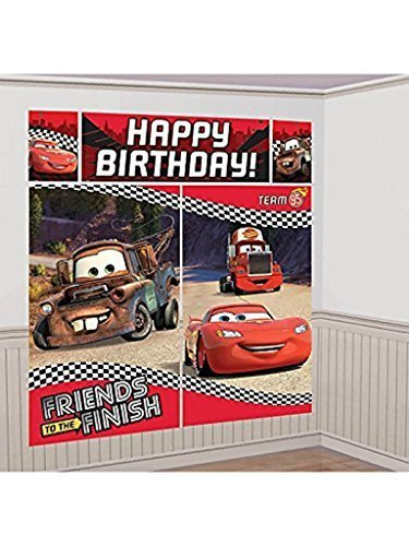 Cars Mc Queen Mater Scene Setters Wall Banner Decorating Kit Birthday Party Supplies -