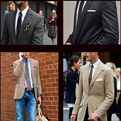 Academyus Men's Satin Pocket Soft Square Plain Solid Color Decent Wedding Party Hankerchief--Black by Academyus (Image #1)