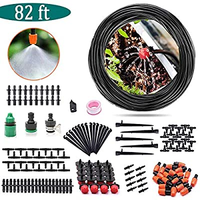 "AGTLLC Drip Irrigation Kits - DIY Sprinkler System Adjustable Automatic Micro Saving Water Plant Watering Set with 82ft 1/4"" Blank Distribution Tubing Hose"