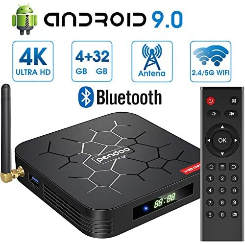 chollos oferta descuentos barato Android 9 0 TV Box 4GB RAM 32GB ROM Android TV Box Dual WiFi 2 4GHz 5GHz H6 Bluetooth Quad Core 64 bits 3D 4K Full HD H 265 USB3 0 Android Smart TV Box Pendoo