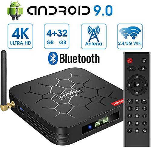 Android 9.0 TV Box 【4GB RAM+32GB ROM】 Android TV Box, Dual-WiFi 2.4GHz / 5GHz H6 Bluetooth Quad Core 64 bits 3D / 4K Full HD / H.265 / USB3.0 Android Smart TV Box Pendoo