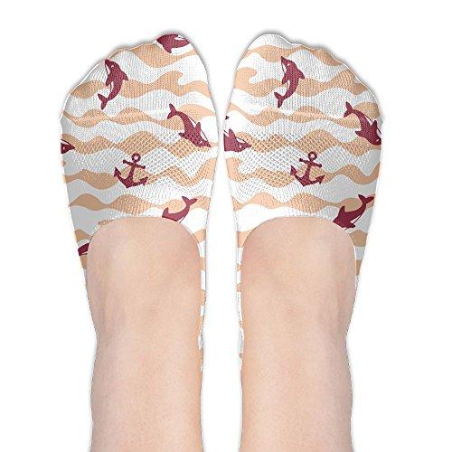 Jadetian Orange Wave Dolphin Anchor Athletic Summer Stealth Ship Socks Low Cut Liner Casual Socks
