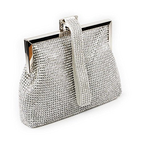 Clutch Handbag Ladies Evening Silver Embellished Metal Womens Framing Bridal w1qSn4