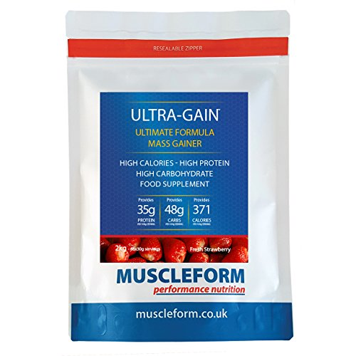 Muscleform ULTRA-GAIN Mass Gain & Weight Gain Powder 2kg Re-Sealable Pouch - Fast Delivery - Strawberry by Muscleform by Muscleform