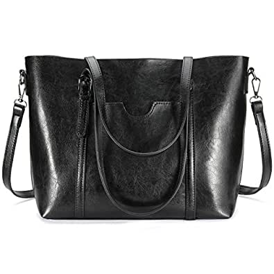 Women Tote Purse, Bagerly Top Handle Satchel Handbags Shoulder Bag Leather Tote Bag (Black)