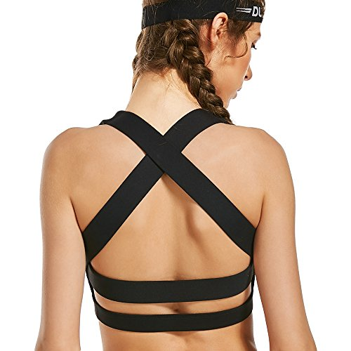 Runbery Women's Comfort Full-Support Sports Bras Breathable High Impact Support Criss Cross Back Workout Yoga Sports Bra Criss Cross Back Support