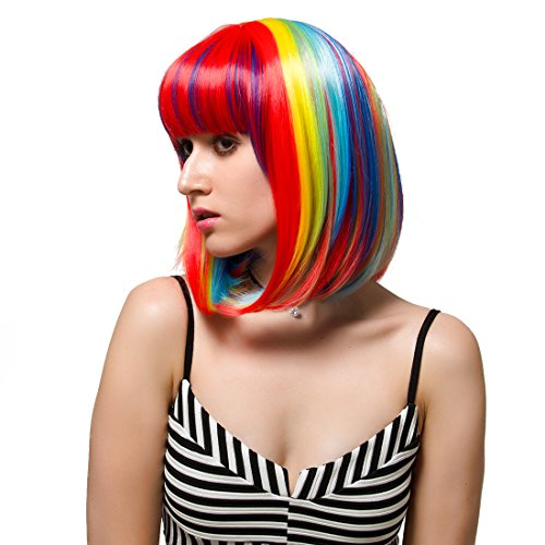 Labeauté Short Straight Party Wigs for Women Halloween Event Carnival Rainbow Mix Color Costume Wig