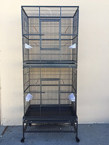 "Mcage New Double Durable Stackable Extra Large Cage 3 Levels Bird Parrot Cage Cockatiel Conure Cage 30"" Length x 18"" Depth x 74"" Height W/Stand on WheelsBlack Vein"