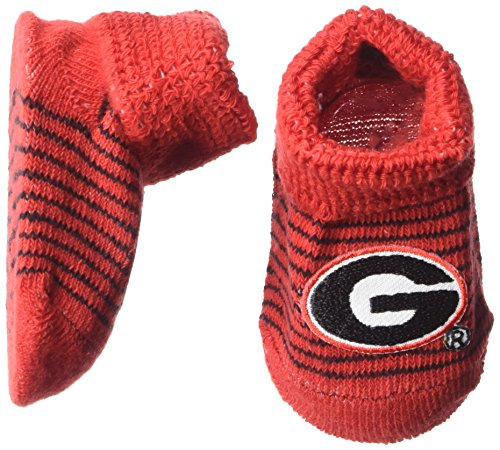 Two Feet Ahead NCAA Georgia Bulldogs Infant Stripe Gift Box Booties, New Born, Red/Black - Georgia Bulldogs Gift Box
