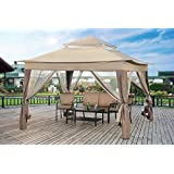 Sunjoy L-GZ849PST-A1-A Large Pop-Up Gazebo with Carrying Bag, 13' by 13', Brown