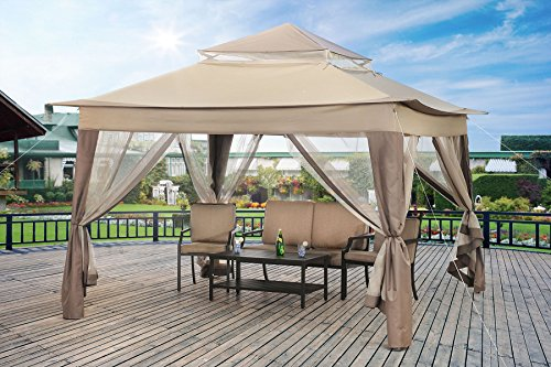 Sunjoy L-GZ849PST-A1-A Large Pop-Up Gazebo with Carrying Bag, 13' by 13', Gray/Brown