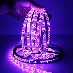 FAVOLCANO Waterproof Purple LED Strip 3528 SMD 300LED 5M Flexible Lamp Light DC 12V 60LED/M IP65 + 2.1 x 5.5mm DC Power Female Plug Jack Adapter Connector Plug