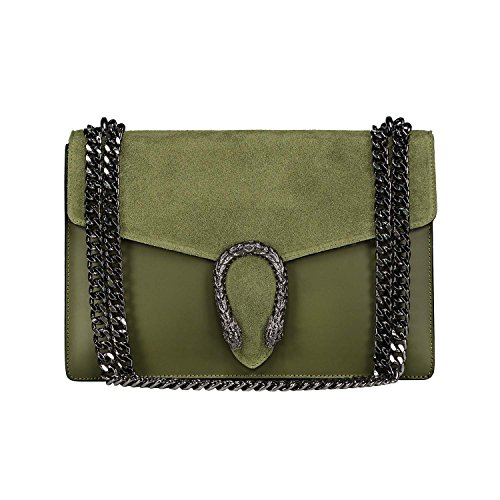 (RONDA Italian Baugette clutch mini wallet cross body bag with nickel chain smooth stiff leather and suede (olive green))
