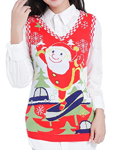 (v28 Ugly Christmas Sweater, Women Girls Vintage Knit Reindeer Xmas Sweater Vest(Small, Santa)