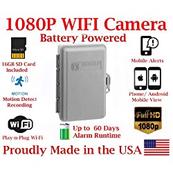 1080P TRUE FULL HD Battery Powered WIFI Electrical Utility Box Alarm IP Spy Camera P2P Wi-Fi Mobile Hidden Camera Spy Gadget up to 60 DAY RUNTIME (with Remote View, Remote Playback and Mobile Alert)