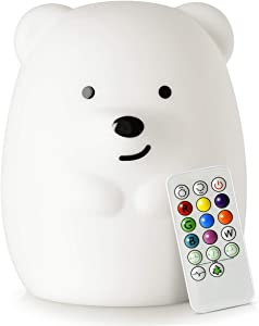 LED Nursery Night Lights for Kids -USB Rechargeable Animal Silicone Lamps with Touch Sensor and Remote Control -Portable Color Changing Glow Soft Cute Baby Infant Toddler Gift (Bear)