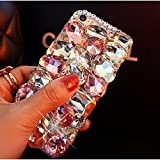iphone 4s case bling crystal - crystal_phonecase Luxury 3D Bling Handmade Jewelled Crystals Diamond Clear Case Cover for Apple iPhone 4/4s 5c 5/5s/SE 6/6s 6/6sPlus 7/8 7/8Plus X (Pink crystal, iPhone 7/8 Plus)