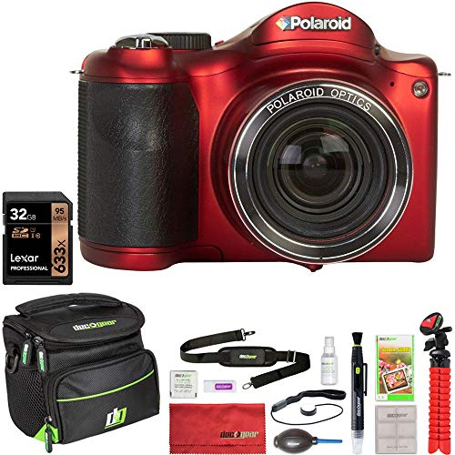 Vivitar Polaroid IE3035W-RED IE3035 18MP Bridge Camera with Built-in WiFi 30x Optical Zoom (Red) Bundle with Lexar 32GB Memory Card, Deco Gear Camera Bag, Lens Blower, Lens Pen, 12inch Tripod & More