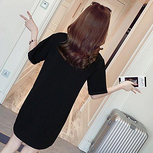 Estivo Moda Manica Abito per Vestito Donna Nero Casual shirt Allattamento Premaman T Corta BOZEVON Vestito Cotone vBHzqn