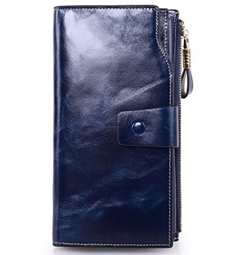 Edmen Große Kapazität Luxus Wax Frauen-echtes Leder-Geldbörse mit Reißverschluss-Tasche (hochgradigem-Paket) (Braun) Dunkel blau CJkn9D7