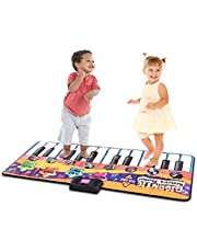 COSTWAY Kids piano mat, toetsenbord speelmat, 24 toetsen elektrische piano speelmat, opvouwbare activiteitenmat met plaat, 8 selecteerbare muziekinstrumenten, spelen - opnemen - afspelen - demo - modi, 180 x 75cm