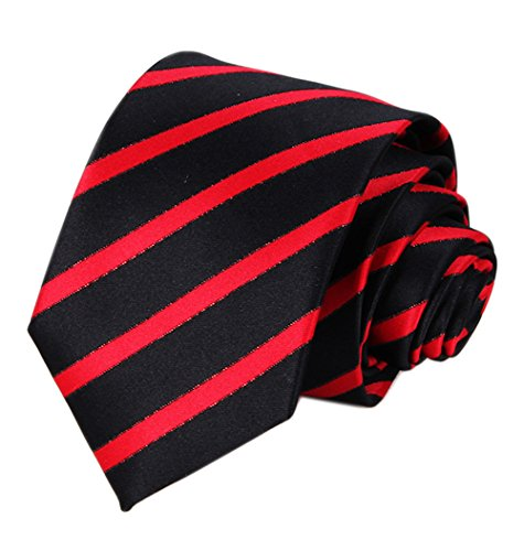 (Mens Black Bright RED Woven Silk Ties Formal Fashion Thanksgiving Dress Necktie)