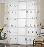 Aside Bside Navigation Style Boat Embroidered Breathable Window Decoration Rod Pocket Top Sheer Curtains For Houseroom Sitting Room and Child Room (1 Panel, W 52 x L 63 inch, White)