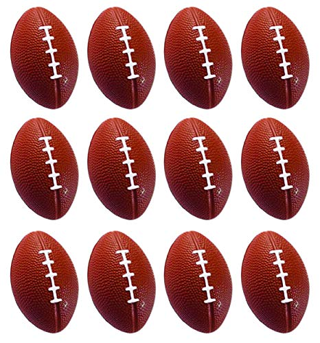 (Present Avenue Mini Toy Balls for Kids Party Favor Toy, Soccer Ball, Basketball, Football, Baseball Emoji Squeeze Ball (12 Pack) Squeeze Foam for Stress, Anxiety Relief, Relaxation. (Football))