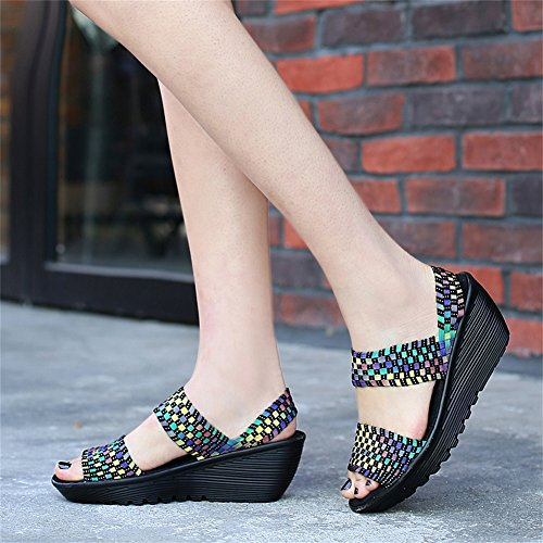 DAYOUT Women Woven Platform Wedges Shoes Open Toe Mary Jane Weave Summer Sandal Shoes Multicolor H3547H5
