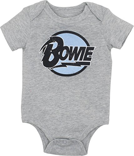 David Bowie Newborn Baby Boys' Rock Band Bodysuit, Heather Grey (9 Months)