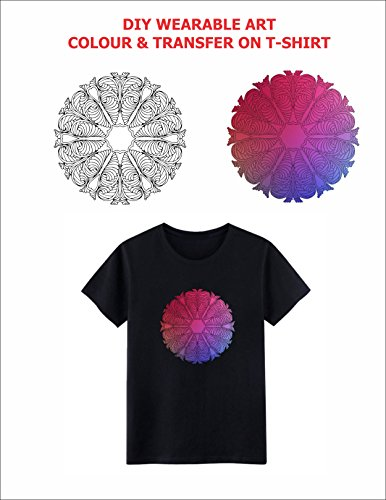 Visual Echoes DIY Wearable Art Colouring Transfer Sticker Kit (Containing T-Shirt for Women, A4 Size Heat Transfer Paper with Inspirational Design colouring Template, Butter Paper & Pack of 12 -