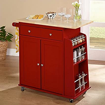 Premium Kitchen USA Kitchen Island Cart On Wheels With Storage And Drawers  Wood Table Top (