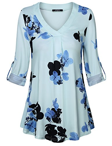 Lotusmile Casual Long Sleeve Tops for Women,Floral Print Pleated V Neck Plus Size 3/4 Cuff Sleeve Causal Blouse Tops for Work Tunic Shirt,Light Blue L by Lotusmile