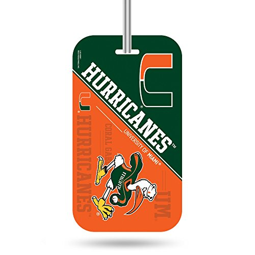 NCAA Miami Hurricanes  Crystal View Team Luggage Tag, Orange, Green, 7.5-inches by 3-inches by 0.5-inch