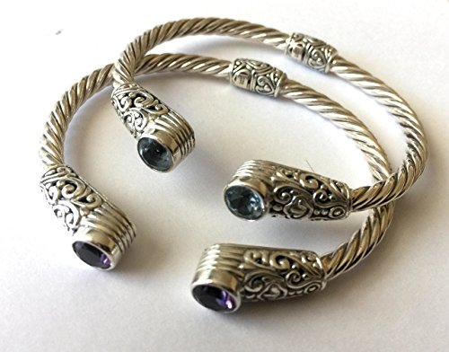 Sterling silver twisted rope cuff bracelet with blue Topaz or amethyst AB07