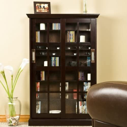 Southern Enterprises Broxton Sliding Door Media Cabinet in Espresso