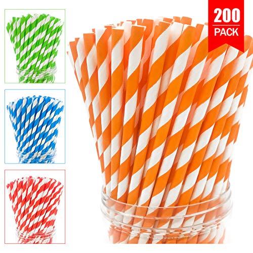 DIYSELF 200pc Biodegradable Stripe Paper Straws Drinking for Juices, Shakes, Smoothies, Party Supplies, Birthday (Orange -