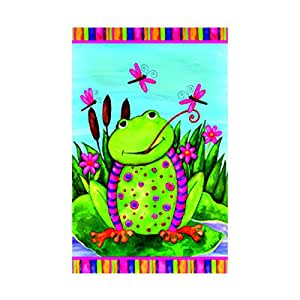 Whimsical Fun Happy Frog Spring Welcome Garden Flag decorative flags initial flags party flags 28 x 40 Inch Double Sided banner home flags Print flags