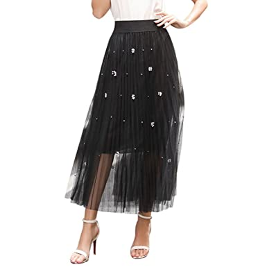 91bbeb66cd ... Skirts Women Pleated A Line Long Maxi Skirts Summer Elastic Waist Puffy Skirts  High Waist Vintage Tiered Skirt Elegant Black: Amazon.co.uk: Clothing
