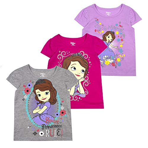 Disney Princess T-Shirts for Girls – 3 Pack Short Sleeve Graphic Tees 3T Grey