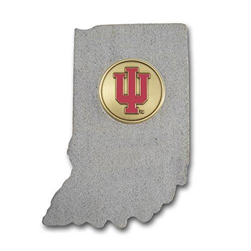 (Indiana Shape Paperweight with Indiana University Block IU Brass Emblem IULS01A IMC-Retail)