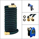 Expandable Garden Hose 50' – Hose Reel for Tidy Storage, 2017 New Improved Design, Triple Layer Latex Core, Bundle with Sprayer, Brass Fittings, On-Off Valve – Heavy Duty, Never Leak, Kink, Tangle
