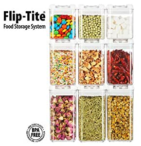 Functional Storage Container Felli Flip Tite Canister Collection Spice Set 9 Pcs Set