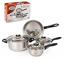 Aramco 7 Piece Alpine Gourmet Polish Finish Cookware Set, Stainless Steel
