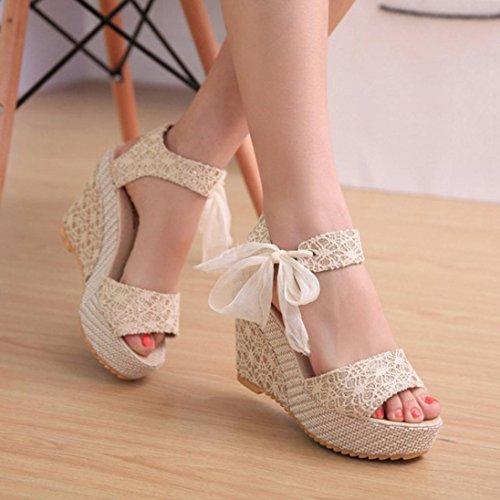 Sandalen Loafers Schuhe für Sandalen Damen Fashion mit Flops Slope Yogogo Weiß Flip Summer HWSFqpw0BS