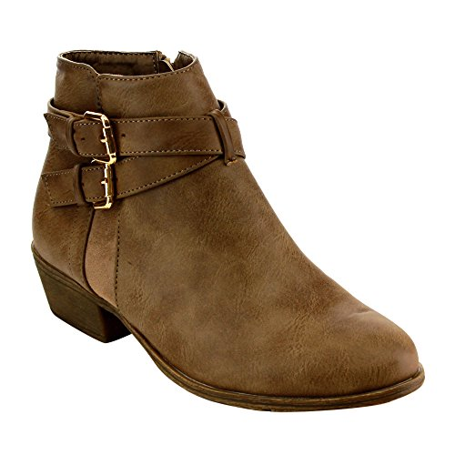 Top Moda EC88 Women's Criss Cross Buckle Strap Low Chunky Ankle Booties, Color:KHAKI, Size:6