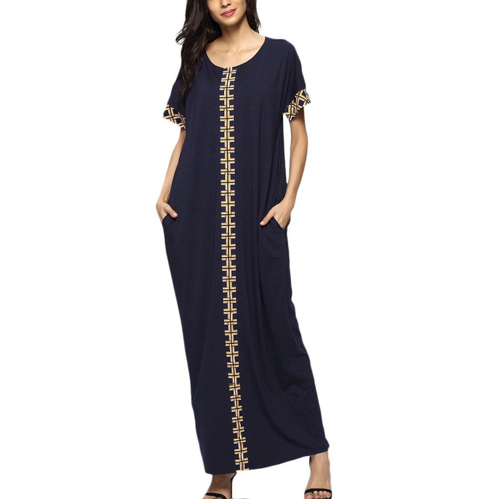 8202f44c4b Zhhyltt Short Sleeve Dress for Arabian Tunic Islamic Women Maxi Long Dress  for Kaftan Malaysia Caftan Abaya Baggy Style Dress Casual Ladies Summer  Dress