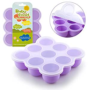 Samuelworld Baby Food Storage Container, Baby Food Freezer Tray with Lid, 9x2.5oz BPA Free, FDA Approved, Silicone, Perfect For Homemade Baby Food, Vegetable & Fruit Purees and Breast Milk