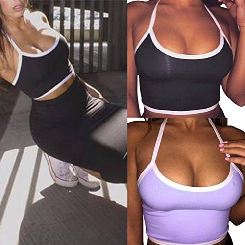2019 Womens Camisoles Tank Bustier Sexy Bra Trim Vest Crop Tops Bralette Fashion Sport Casual Camis Blouse Black by Earsula_Women Top (Image #4)